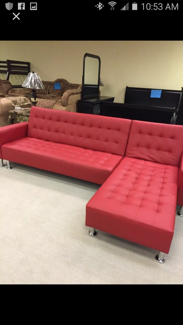 Red Leather Sectional/Sofa Bed for Sale in Birmingham, AL - OfferUp