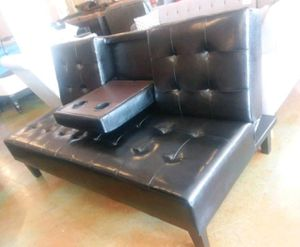 Brand New Black Faux Leather Futon Sofa Bed for Sale in Silver Spring, MD