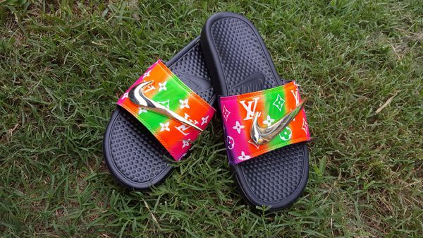new product df29f a3645 Custom Nike/Lv slippers for Sale in Gretna, LA - OfferUp