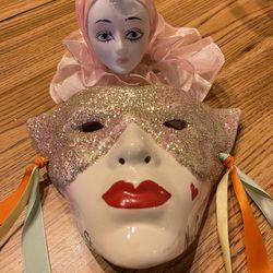 Mardi Gras Ceramic Mask And Figurine  Thumbnail