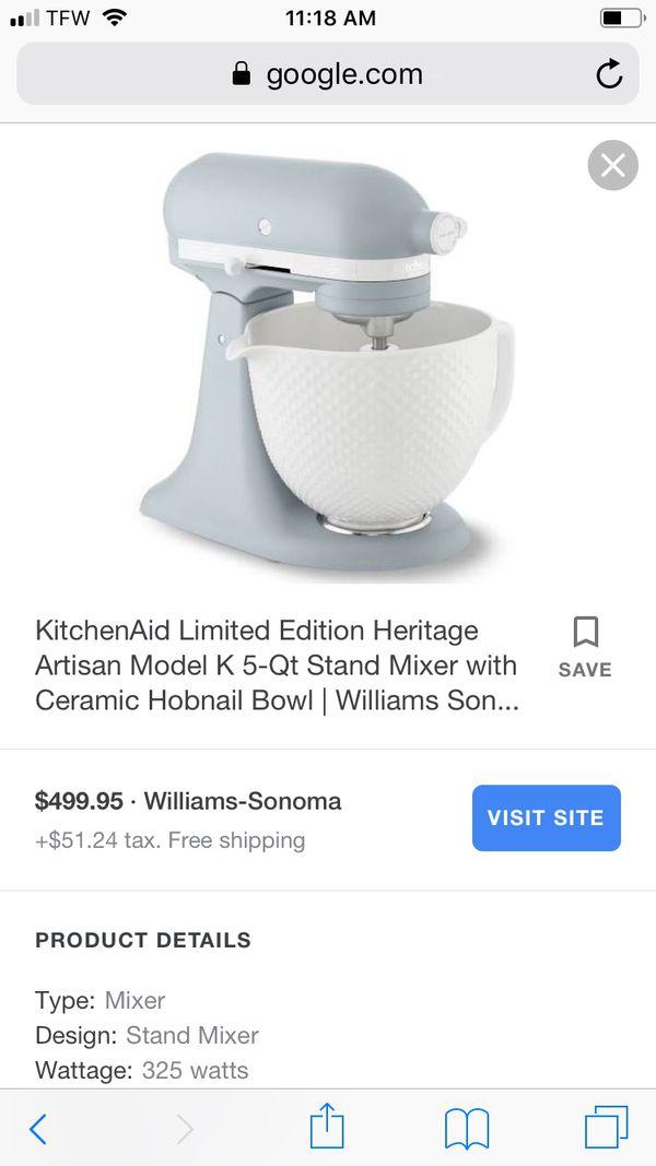 Kitchenaid Limited Edition Heritage Artisan Model 5 Quart Mixer For