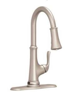 Premier Creswell Single-Handle Pull-Down Sprayer Kitchen Faucet with Touchless Sensor and LED Light in Brushed Nickel Thumbnail
