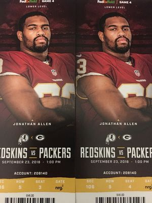 REDSKINS VS PACKERS for Sale in Washington, DC