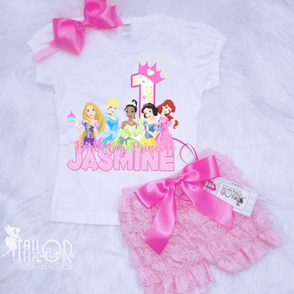 Disney Princess 1st Birthday Shirt Set