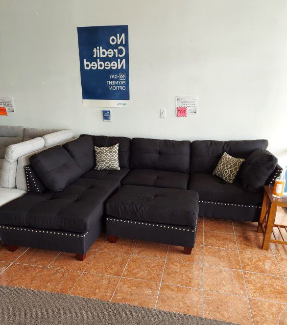 3-PCS SECTIONAL POLYFIBER W/ OTTOMAN [ONLY $50 DOWN & PAY IT IN 90 DAYS][SAME AS CASH]