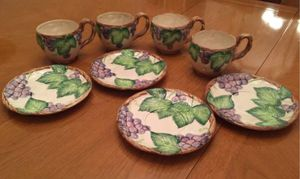 """Fitz and Floyd """"Grape Arbor"""" coffee & saucers for Sale in Apex, NC"""