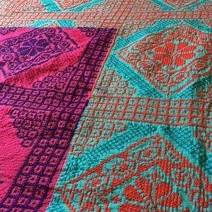 South Asian Folk Art Handmade Needlepoint Cotton Quilt for Sale in Arlington, VA