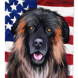 Caroline's Treasures CK6518CHF Estrela Mountain Dog American Flag Flag Canvas House Size , Large, multicolor Thumbnail