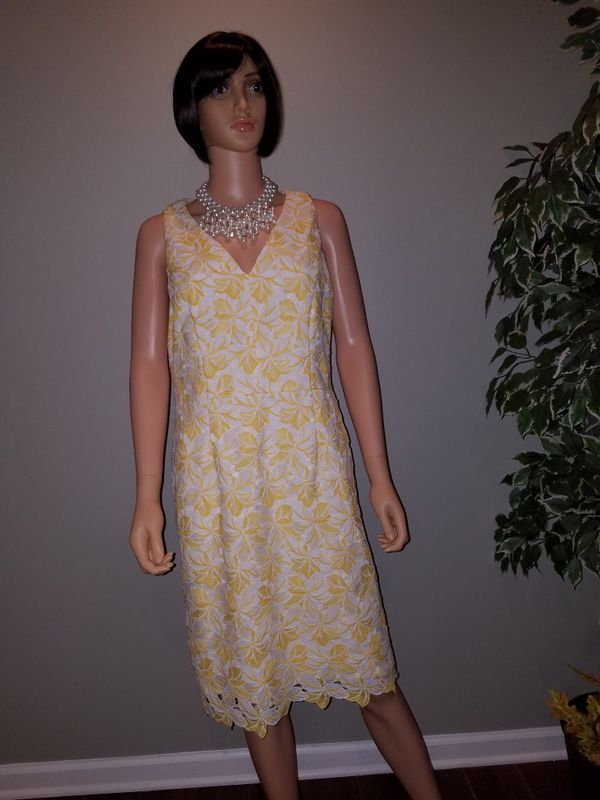 White House Black Market Spring Dress Yellow And White For Sale In