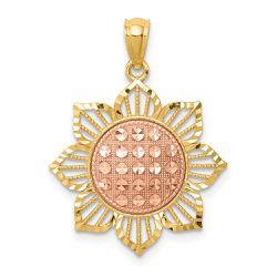 14K Gold & Two Tone Rose Plated Diamond Cut Sunflower Pendant Thumbnail