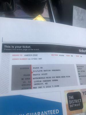 Travis Scott tickets 90 for Sale in Wixom, MI