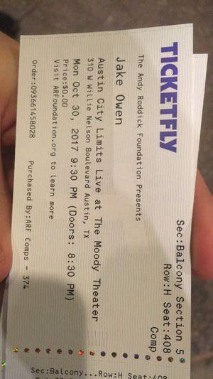 Jake Owens Tickets for Sale in Austin, TX