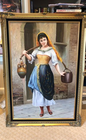 "19th century (~1873) painting Eugen Von Blaas ""Work"" Oil on Canvas for Sale in Gaithersburg, MD"