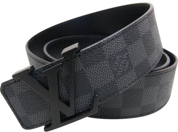 31145340283b Louis Vuitton Damier graphite LV buckle belt (black  gray) for Sale ...