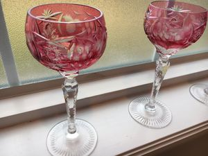 Nachtmann Traube Bohemian Crystal Ruby Cranberry Cut to Clear Hock Wine Glasses (1970's) for sale  Owasso, OK