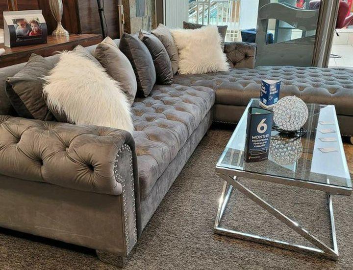 London Gray Velvet RAF Oversized Sectional / couch /Living room set