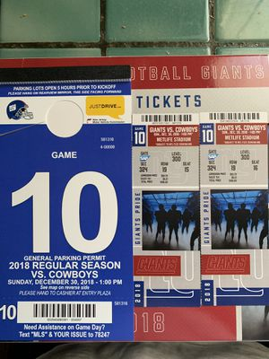 Giants vs cowboys Dec.30 for Sale in Staten Island, NY