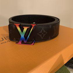 LV Initiales Belt Black Leather Eclipse Monogram Size 110cm Thumbnail
