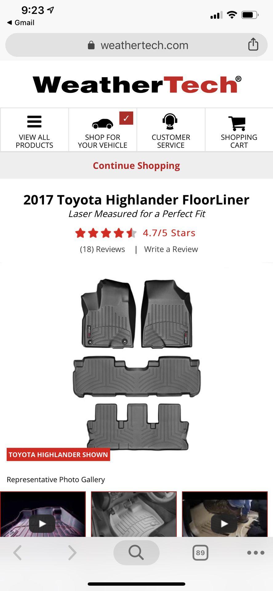 Weathertech - Toyota highlander floorliner (15 -19)