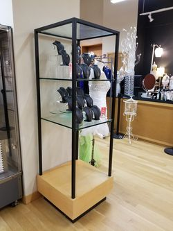Beautiful glass wood metal display case shelves Like New Thumbnail