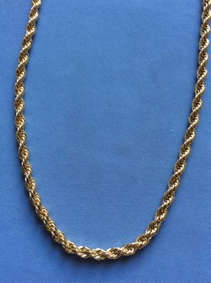 """Photo 30"""" Rope 6mm Necklace 14k Gold Plated *Ship Nationwide Or Pickup Boca Raton"""