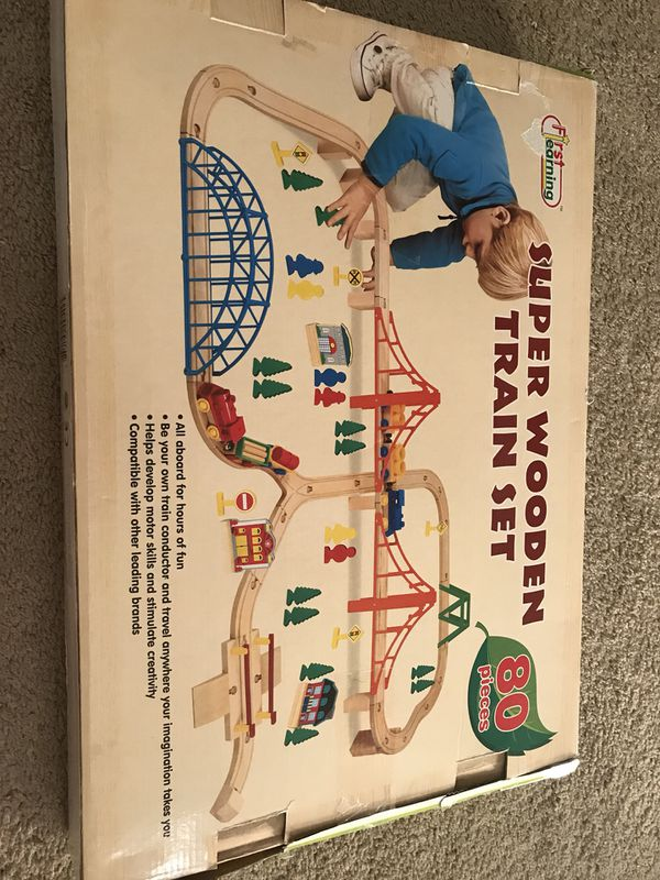 Super Wooden Train Set 80 Pieces For Sale In Manchester Ct Offerup