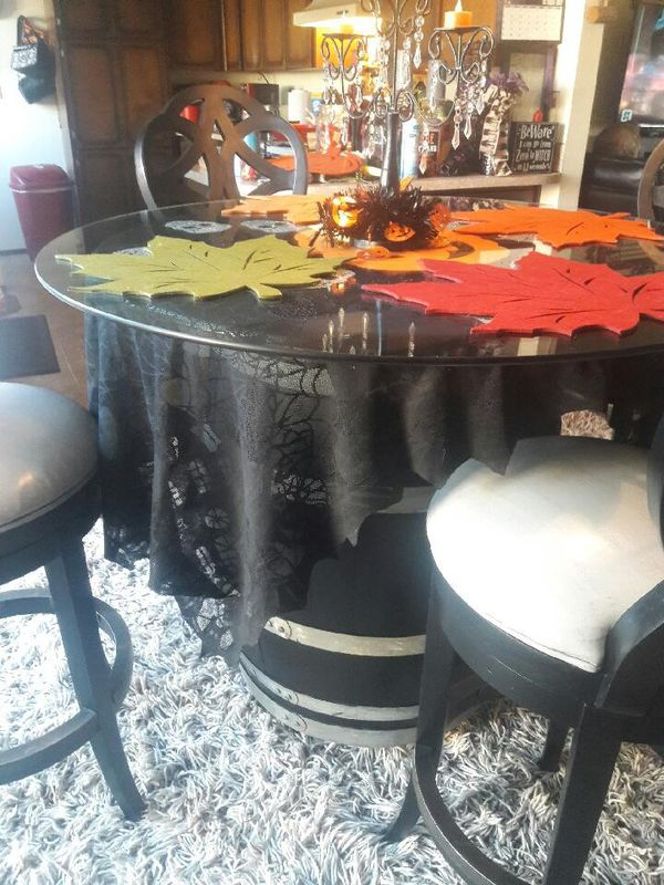 wood barrel furniture. Wine Barrel Table With Glass Top And 4 Chairs Solid Wood That Swivel For Sale In Puyallup, WA - OfferUp Furniture V