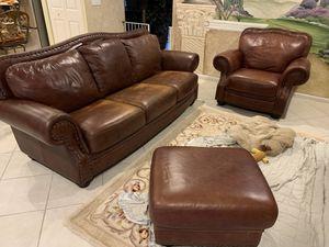 Leather sofa, chair, ottoman. $120. NEED GONE TOMORROW for Sale in Miramar, FL