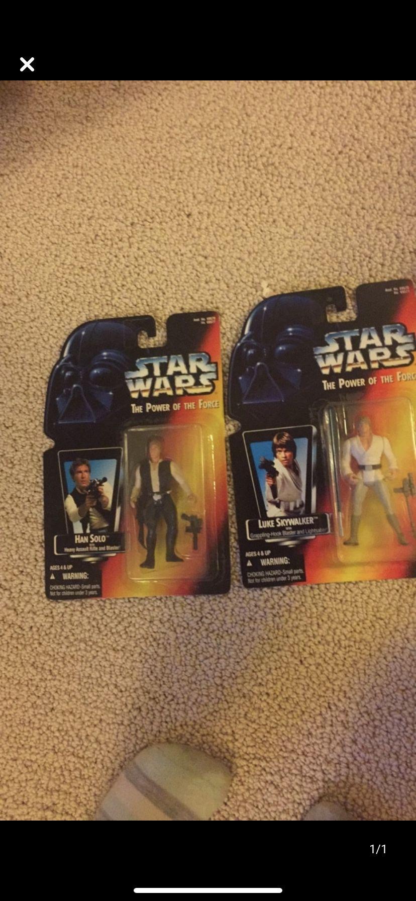 Star Wars unopened figures Luke Skywalker and Han Solo