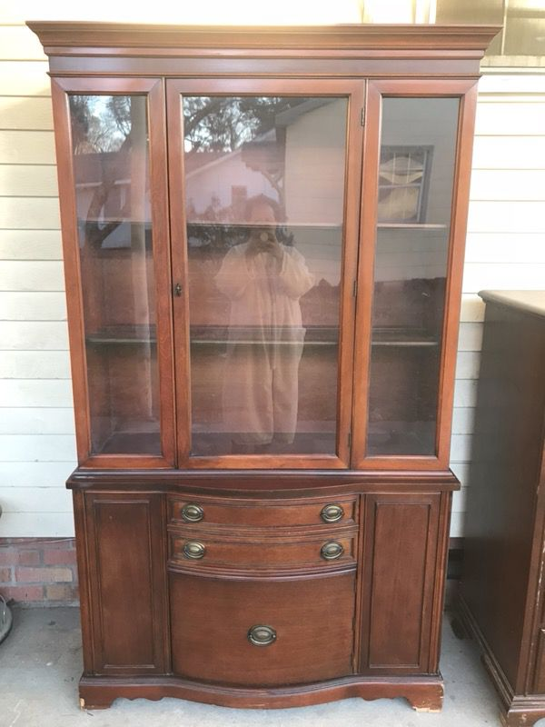 Antique Cherry China Cabinet For