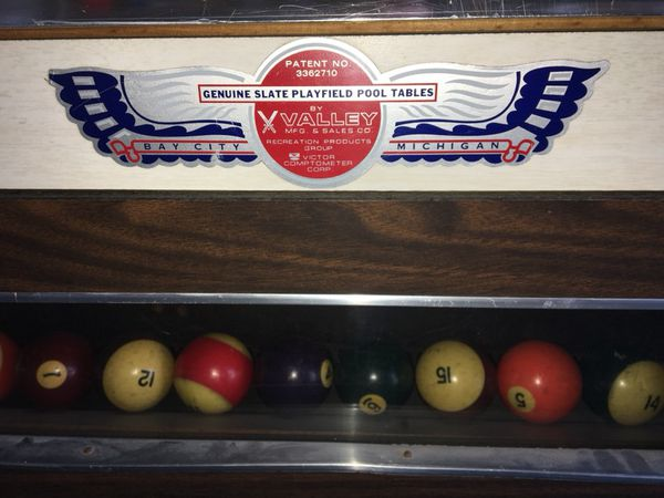 Vintage VALLEY Bar Size Slate Pool Table Coin Operated Extras - Genuine slate playfield pool table