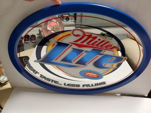 Photo Brand new Miller Lite Beer Oval Bar Mirror 24 X 18