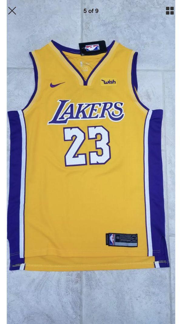 a48f8d23a9d Men s LA Lakers Nike Gold Authentic LeBron James Jersey for Sale in ...