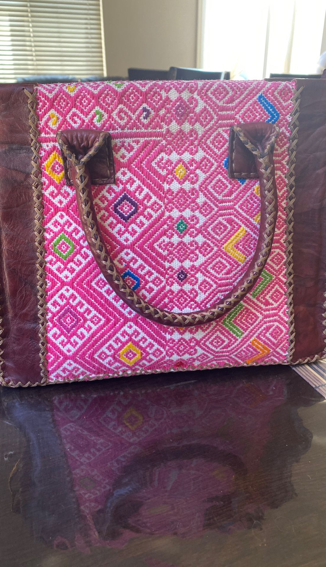 $100 handmade all leather pink and burgundy purse!