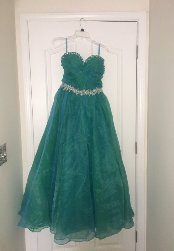 Green And Teal Ballgown Prom Dress Clothing Shoes In