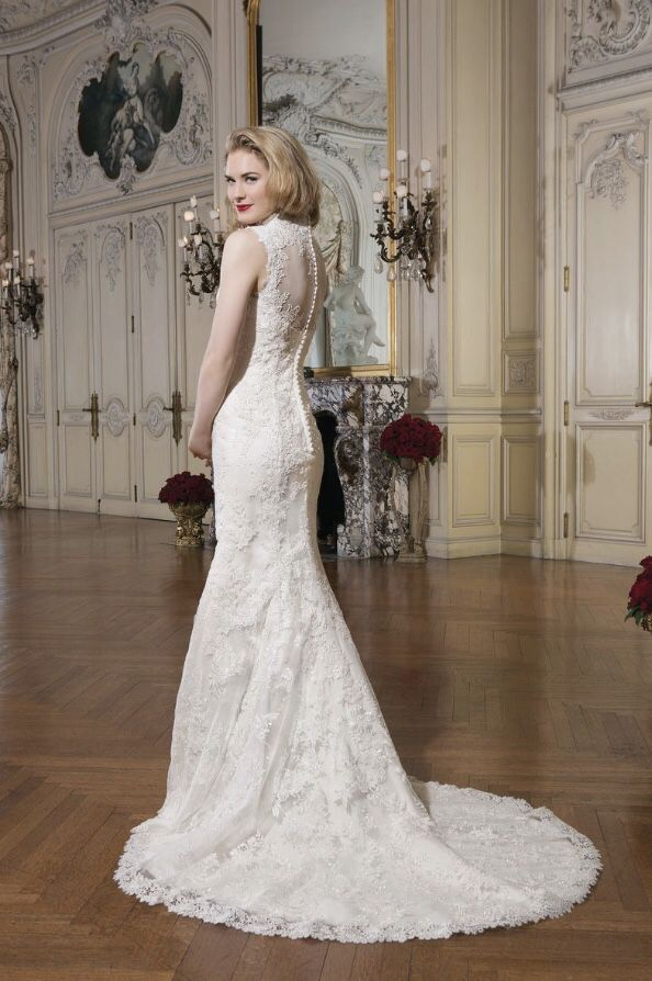Justin Alexander Queen Anne Venice Lace and Organza Mermaid Wedding ...