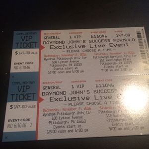 2 VIP tickets to Daymond John's success formula for Sale in Pittsburgh, PA