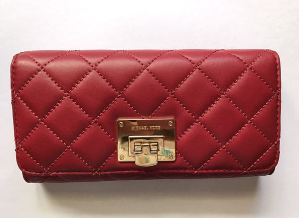 9a99f7e083e8f8 New$198 MICHAEL KORS SOFT QUILTED LEATHER ASTRID CARRYALL WALLET  MERLOT/GOLD MK