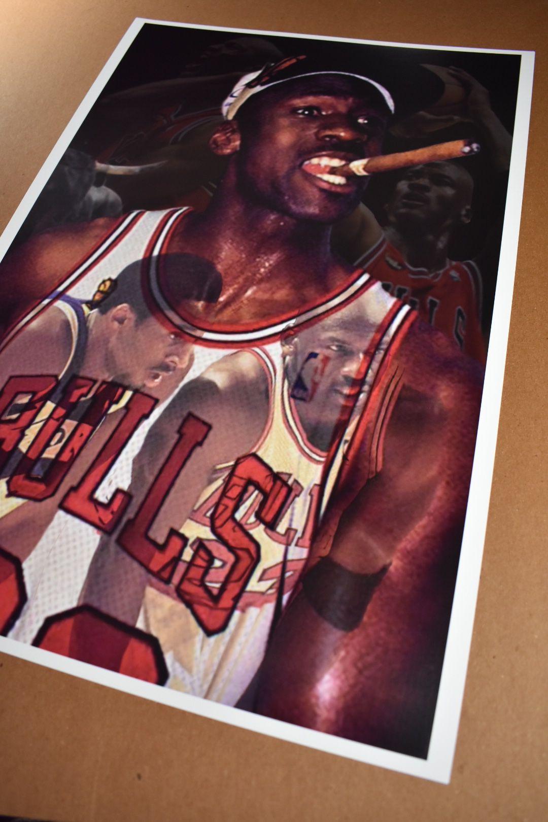 Chicago Bulls Collage Michael Jordan Champion Art Print