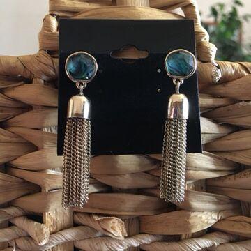 Vintage faux abalone gold chain tassel earrings