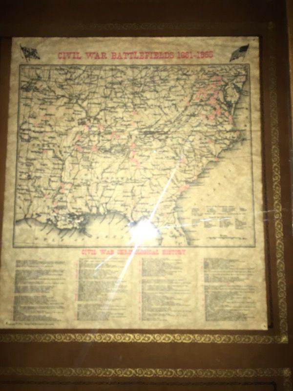 Map from civil war battlefields ( 1861- 1865 )