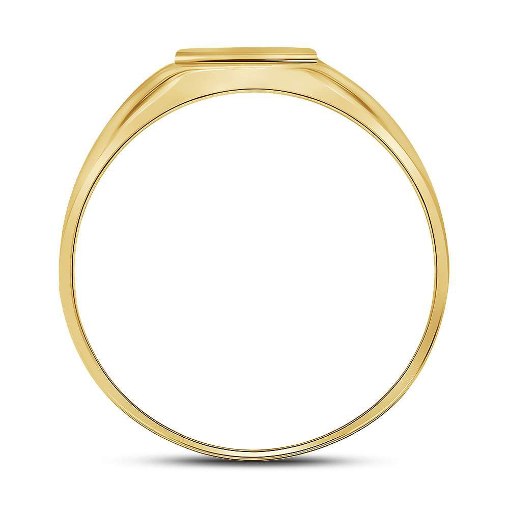 Saris and Things 10kt Yellow Gold Mens Round Diamond Cross Band Ring 1/20 Cttw