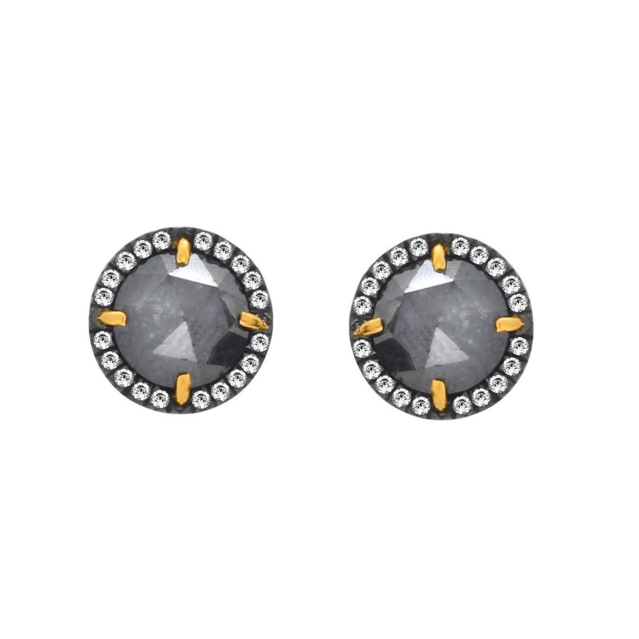 4.63 Ct Black Rough & White Diamond 18K Gold & Sterling Stud Earrings