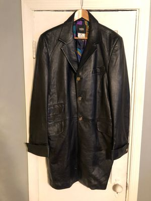 Men's vintage Versace leather coat size 52 Authentic for Sale in Washington, DC