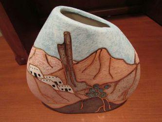 Adobe hand painted vase with gold details - southwest desert- Thumbnail