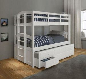 TWIN TRIPLE BUNK BED WHITE ( SOLID WOOD ) for Sale in Hialeah, FL