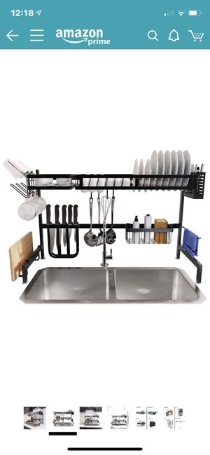 Photo KES Sink Dish Drying Rack Kitchen Over the Sink Dish Drain Rack Utensil Holder for 33-inch Double Sink Stainless Steel Matt Black