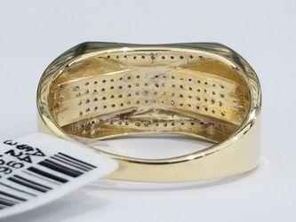 10k Yellow Gold Diamond Wedding Bridal Ring Mans Ring Band Thumbnail