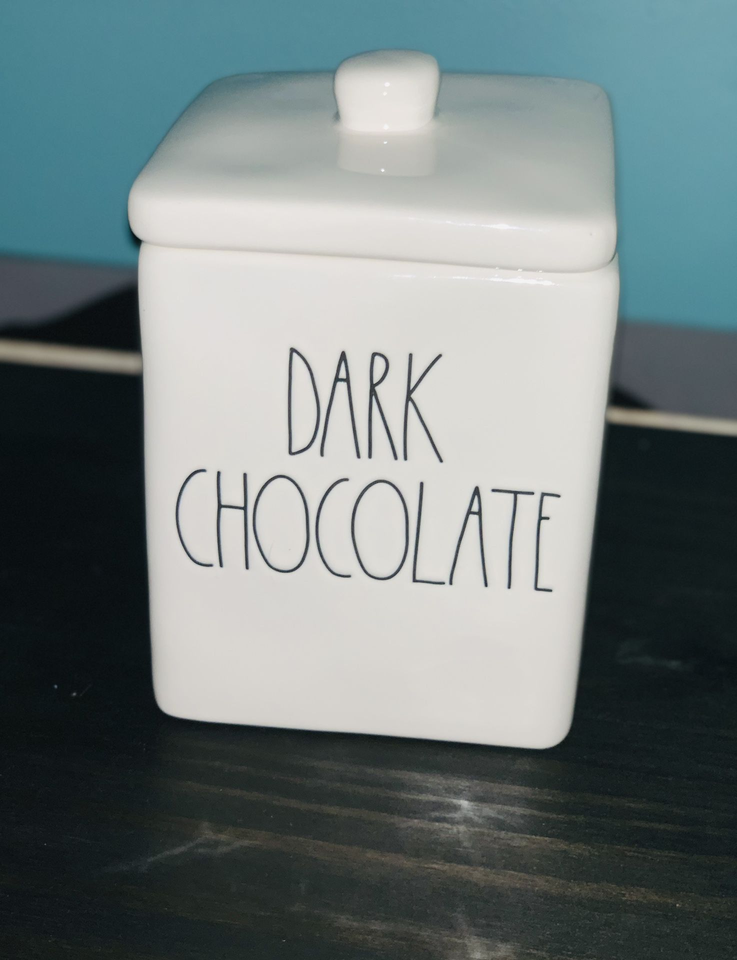 Rae Dunn Dark Chocolate Square Canister