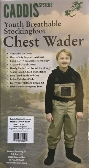 NEW Caddis Youth Chest Waders - Breathable Stocking Foot Fly Fishing for Sale in Snohomish, WA